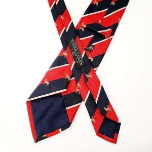 Neiman Marcus Red Navy Donkey Vintage Silk Tie
